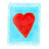 Bright Red Heart On Blue Background