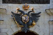 Coat Of Arms Of Russian Empire Above The Gates Of Peter And Paul Fortress