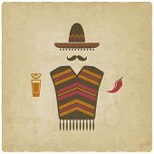 stock photo of pepper  - Mexican man in sombrero with tequila and chili pepper old background vector illustration - JPG