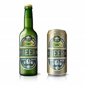 Green beer bottle and golden can, with labels.
