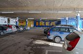 SAMARA RUSSIA - JANUARY 24 2015: Underground car parking IKEA Samara Store. IKEA is the world's larg