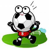 Cheering cartoon soccer ball