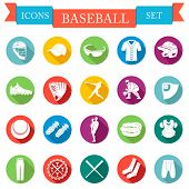 Set Of Vector Icons Flat About Baseball