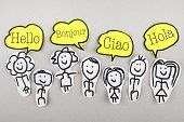 picture of french culture  - Group of sketch people with hello words in different languages - JPG