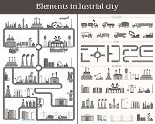 Постер, плакат: Vector Set Of Elements The Industrial City Design Your Own City