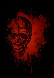 stock photo of skull  - Sketch of Human Skull in Blood Isolated on Black Background - JPG