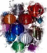 stock photo of eastern culture  - Night lanterns in old Hoi An town in Vietnam - JPG