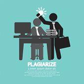 stock photo of plagiarism  - Idea Stolen Symbol Graphic Plagiarize Concept Vector Illustration - JPG