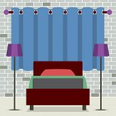 picture of flat-bed  - Flat Design Single Bed With Lamps Vector Illustration - JPG