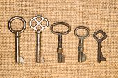 stock photo of hasp  - Some vintage keys from the locks on old cloth - JPG