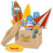 picture of flipper  - Carton Box with beach accessories including parasol - JPG