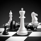 foto of chess pieces  - Chess game concept with realistic board and black and white pieces vector illustration - JPG