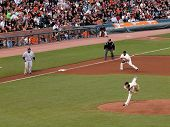 Brewers Prince Fielder Taking Lead From 3Rd As Tim Lincecum Throws Pitch