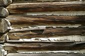 Closeup Of Log Building