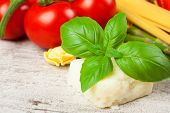 picture of basil leaves  - Basil leaves with Italian cheese pecorino - JPG