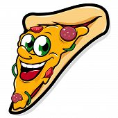 pic of take out pizza  - Vector Illustration of  a happy pizza slice character smiling - JPG