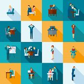 foto of frustrated  - Depression frustration and stress at work icons flat set  isolated vector illustration - JPG