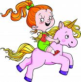 foto of unicorn  - a girl with red hair riding a unicorn - JPG