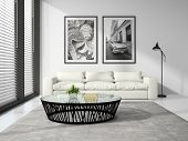 picture of sofa  - Part of Interior modern design room with white sofa 3D rendering  - JPG