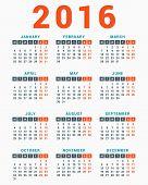 stock photo of monday  - Calendar for 2016 on White Background - JPG