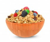 picture of cereal bowl  - muesli cereal with blueberries in a bowl isolated on white background - JPG