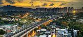 foto of high-speed train  - hong kong urban downtown and sunset speed train - JPG