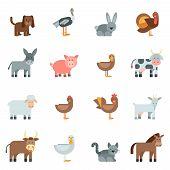 foto of sheep-dog  - Domestic animal flat icons set with dog rabbit donkey isolated vector illustration - JPG