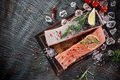 image of salmon steak  - Delicious salmon steak on stone table - JPG