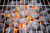 stock photo of blisters  - Garden grill with blistering briquettes - JPG