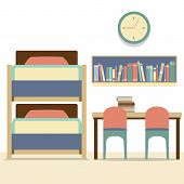stock photo of bunk-bed  - Empty Bunk Bed With Table And Chairs Vector Illustration - JPG