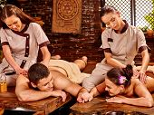 picture of ayurveda  - Couple  having oil Ayurveda spa treatment - JPG
