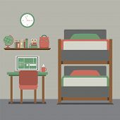 foto of bunk-bed  - Bunk Bed With Workspace Vector Illustration - JPG