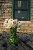 image of shingles  - White narcissus in a glass vase on a wooden table against a building with wooden shingles in Menemsha Massachusetts on Martha - JPG