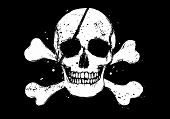 image of pirate flag  - Black vector pirate flag with white grunge style human skull and crossbones - JPG
