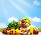 image of healthy food  - Vegetables and fruits under blue sky - JPG