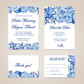 image of traditional  - Set of wedding invitation card with traditional ethnic flower paisley ornament - JPG