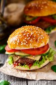 foto of beef-burger  - Beef burger with cheese - JPG