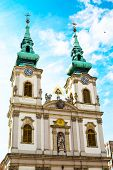 stock photo of hungarian  - Part of Saint Anne Church or Hungarian Szent Anna templom on Batthyany Square in Budapest - JPG