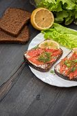 image of butter-lettuce  - Homemade sandwich with salmon and rye bread  - JPG