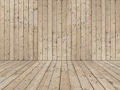 stock photo of wainscoting  - Room with wooden planked wall and flooring of rough sewed boards - JPG