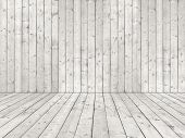 foto of wainscoting  - Room with white wooden planked wall and flooring of rough sewed boards in shabby look - JPG