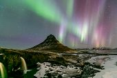foto of aurora borealis  - The Northern Light Aurora borealis at Kirkjufell Iceland - JPG