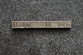 foto of integrity  - integrity word made from metallic blocks on blackboard surface - JPG