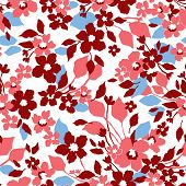 stock photo of jungle flowers  - Beautiful seamless floral pattern - JPG