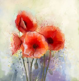 picture of colore  - Water color red poppy flowers painting - JPG