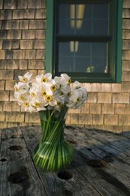 stock photo of shingles  - White narcissus in a glass vase on a wooden table against a building with wooden shingles in Menemsha Massachusetts on Martha - JPG