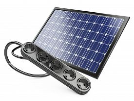 picture of solar battery  - Solar panel with socket green energy concept - JPG