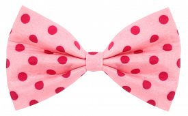 image of bow tie hair  - Hair bow tie pink with red dots - JPG