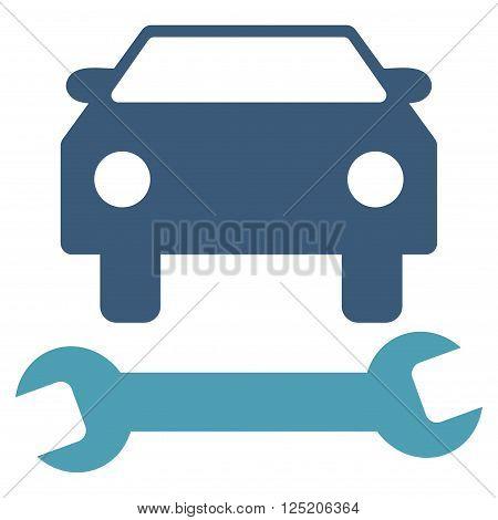 poster of Car Repair vector icon. Car Repair icon symbol. Car Repair icon image. Car Repair icon picture. Car Repair pictogram. Flat cyan and blue car repair icon. Isolated car repair icon graphic.