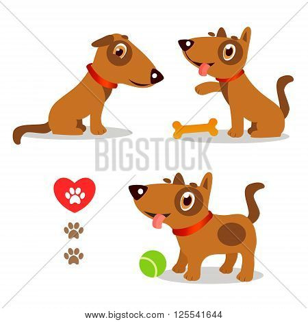 poster of Dogs Funny And Sad. Cartoon Vector Set Illustrations On A White Background. Dogs Funny Faces. Dogs Funny Memes. Dogs Funny Moments. Dogs Funny Talking. Playful Dog Pose. Playful Dog For Kids.